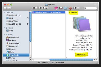 استعراض الملفات باستخدام unrarx لنظام ماك